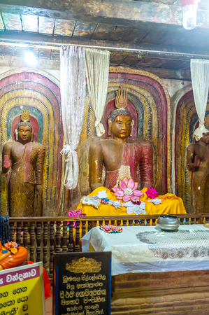 BATTALA, SRI LANKA - DECEMBER 2, 2016:  The image house of the ancient Yudaganawa shrine with old statues of Lord Buddha, on December 2 in Battala Editorial
