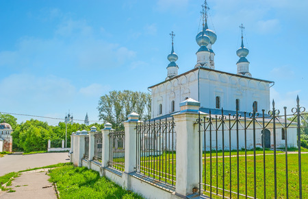 The summer St Peter and Paul church of the same named Parish is decorated with the scenic onion domes, Suzdal, Russia.