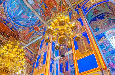 SUZDAL, RUSSIA - JULY 1, 2013: The walls and ceiling of Nativity Cathedral in Kremlin, all the prayer hall is covered with painted icons, on July 1 in Suzdal. Editorial