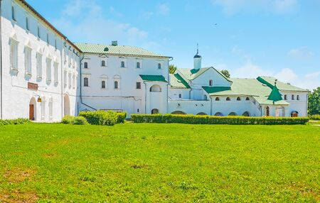The facade of historic Archbishops Chambers, preserved on territory of Suzdal Kremlin, Russia.