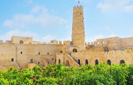 The lush green garden at the walls of the medieval Ribat fortress, Monastir, Tunisia. Stock Photo