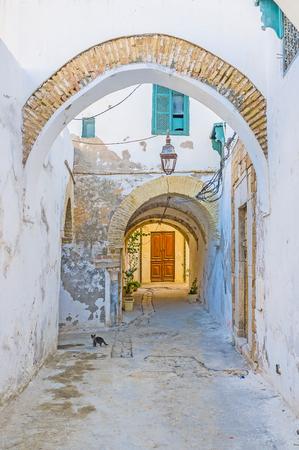 De wandeling langs de smalle straat van Medina met vele bogen onder de woongebouwen, Tunis, Tunesië.