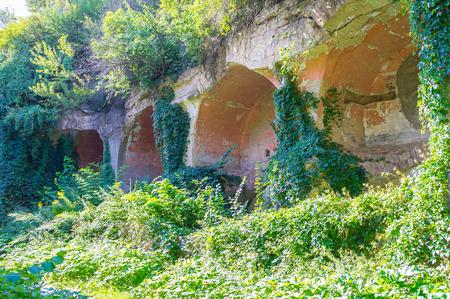 Massive ramparts of old defensive Tarakanov Fort nowadays lays in ruins, overgrown with plants, Dubno, Ukraine