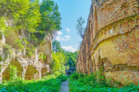 Walking in inner courtyard of old Tarakanov Fort is possible to explore the defensive architecture of past, Dubno, Ukraine Stock Photo
