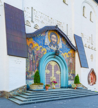 Entrances of the Holy Trinity Cathedral of Pochayiv Lavra are decorated with beautiful mosaic icons, made in old russian style, Ukraine