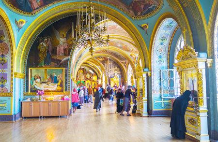POCHAYIV, UKRAINE - AUGUST 30, 2017: The beautiful interior of Underground St Job Church in Pochayiv Lavra, on August 30 in Pochayiv. Editorial
