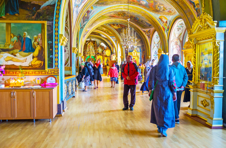 POCHAYIV, UKRAINE - AUGUST 30, 2017: St Job Underground Church boasts beautiful colorful frescoes on its arch ceiling and walls, on August 30 in Pochayiv.