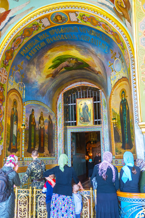 POCHAYIV, UKRAINE - AUGUST 30, 2017: The separate chamber with holy relics located in Underground St Job Church in Pochayiv Lavra complex, on August 30 in Pochayiv.