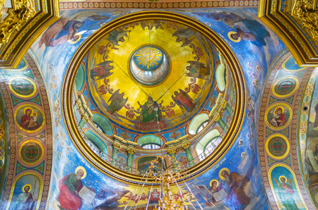 POCHAYIV, UKRAINE - AUGUST 30, 2017: The beautifully decorated cupola of Holy Dormition Cathedral in Pochayiv Lavra, on August 30 in Pochayiv.