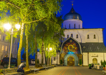 POCHAYIV, UKRAINE - AUGUST 29, 2017: Evening is the most amazing time to visit Pochaev Lavra complex due to beautiful illumination of its buildings and churches,  on August 29 in Pochayiv.