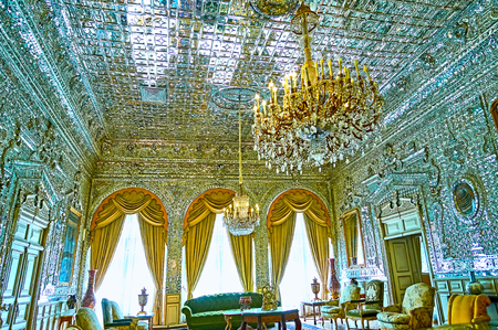 TEHRAN, IRAN - OCTOBER 11, 2017:  The Hall of Brilliance (Talar-e Berelian) of Golestan Palace is famous for its masterpiece mirror decoration and chandeliers, on October 11 in Tehran. Redakční