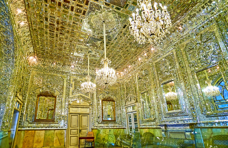 TEHRAN, IRAN - OCTOBER 11, 2017:  The  halls of Golestan palace are famous for the outstanding mirror work, such as Hall of Brilliance (Talar-e Berelian), on October 11 in Tehran. Redakční