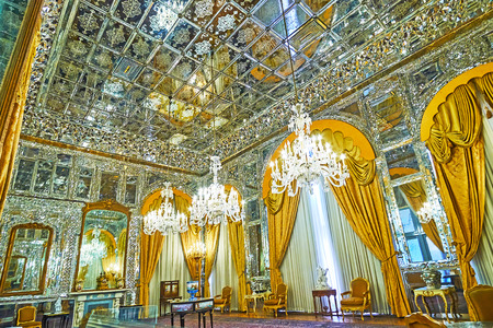 TEHRAN, IRAN - OCTOBER 11, 2017: Talar-e Aineh (Hall of Mirror) is one of the most beautiful in Golestan Palace, its famous for masterpiece mirror work, on October 11 in Tehran.