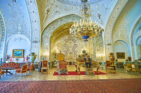 TEHRAN, IRAN - OCTOBER 11, 2017: The Reception Hall (Talar-e Salam) is the outstanding landmark of Golestan Palace with preserved decors, furniture and artifacts, on October 11 in Tehran. Redakční