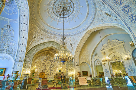 TEHRAN, IRAN - OCTOBER 11, 2017: The Reception Hall (Talar-e Salam) is one of the main and most beautiful halls of Golestan Palace, on October 11 in Tehran.