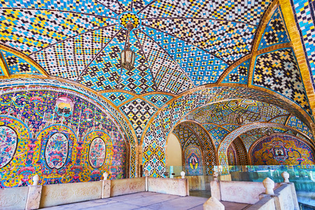 TEHRAN, IRAN - OCTOBER 11, 2017: The picturesque interior of Karim Khani Nook with dome and walls covered with tile patterns in Persian style, on October 11 in Tehran.