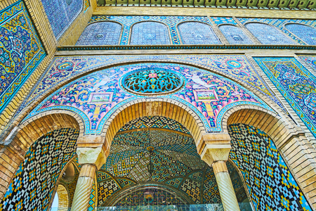TEHRAN, IRAN - OCTOBER 11, 2017: The Khalvat-e-Karim Khani pavilion is one of the most splendid edifices of Golestan complex, that boasts masterpiece tile ornaments and paintings, on October 11 in Tehran.