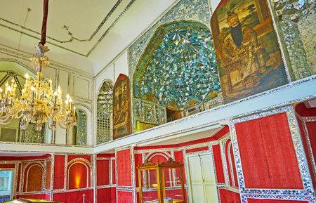 TEHRAN, IRAN - OCTOBER 11, 2017: Talar-e Almas (Hall of Diamonds) of Golestan palace with historic paintings, mirror work and vintage European wallpaper, on October 11 in Tehran. Redakční
