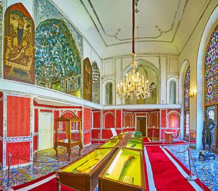 TEHRAN, IRAN - OCTOBER 11, 2017: Talar-e Almas (Hall of Diamonds) of Golestan palace serves as the exhibition hall, on October 11 in Tehran.