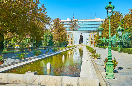 The Golestan palace complex is one of the most popular landmarks of the city with lush garden, historic edifices and the fountains, Tehran, Iran.