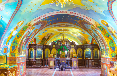 POCHAYIV, UKRAINE - AUGUST 30, 2017: The small St. Seraphis of Sarov Church located under the Holy Spirit Church and becomes a lower church, on August 30 in Pochayiv. Editorial