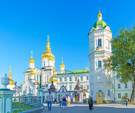 POCHAYIV, UKRAINE - AUGUST 30, 2017: Pochaev Lavra is very crowded during weekends and religion holidays, on August 30 in Pochayiv.