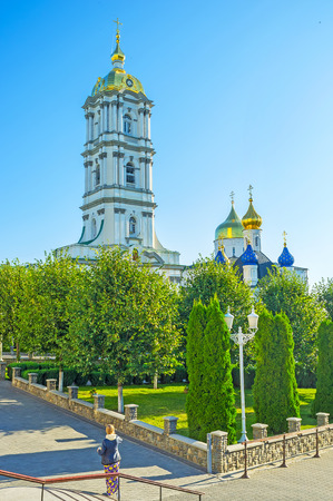 The view on Bell Tower and domes of Holy Trinity Cathedral of Pochaev Lavra, Ukraine