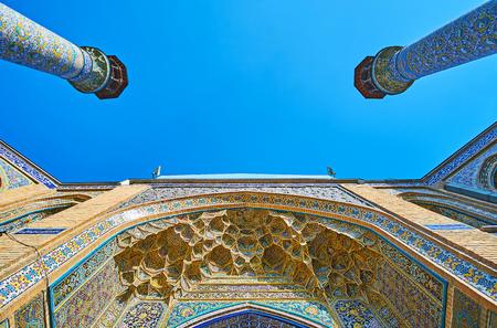 ポータルやガージャール時代シャヒード Motahari (Sepahsalar) モスク、テヘラン、イランのミナレットのタイル装飾。