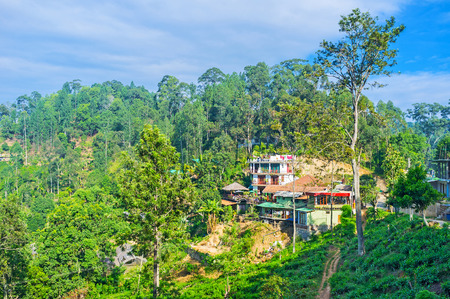 The small green town of Ella boasts beautiful nature and numerous scenic locations, tourist cottage and hotels occupy the green mountain slopes, Sri Lanka.