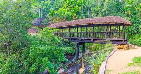 Bogoda Wooden Bridge stands on the massive log support of Jackfruit tree, Ketawala, Sri Lanka. Stock Photo