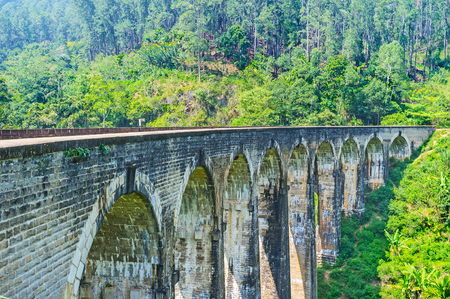 The scenic stone Nine Arch Bridge is hidden in gorge among the forests and agricultural lands of Demodara, Ella, Sri Lanka. Stock Photo