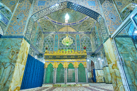 YAZD, IRAN - OCTOBER 17, 2017: The tomb of Fazel Ibn-Musa located in the middle of prayer hall and goes to the male and female sides, on October 17 in Yazd