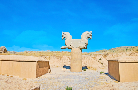 The ruins of griffon column capital in Persepolis archaeological site, Iran.