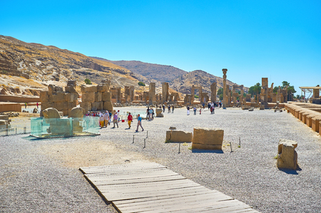 PERSEPOLIS, IRAN - OCTOBER 13, 2017: The ruins ancient of Persepolis located at the foot of Rahmet mount (Mountain of Mercy), on October 13 in Persepolis.