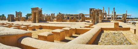 Panorama of ancient ceremonial capital of Persian Empire - Persepolis with preserved ruins of palaces and ritual buildings, Iran.