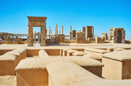 Preserved stone gates of Hundred Columns Hall, located in Persepolis archaeological site, Iran.