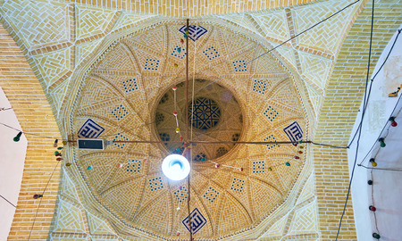 YAZD, IRAN - OCTOBER 17, 2017: Interior of Goldsmith Bazaar with brick cupola decorated with tiles, on October 17 in Yazd