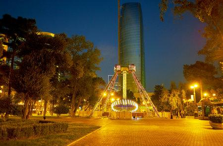 BAKU, AZERBAIJAN - OCTOBER 9, 2017: Baku Boulevard is the central promenade with garden and small amusement park, on October 9 in Baku
