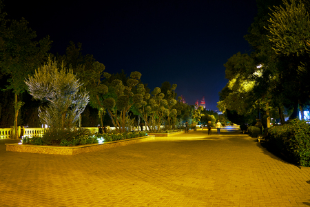 BAKU, AZERBAIJAN: Beautiful park along embankment of Baku attracts tourist and locals, on October 9 in Baku
