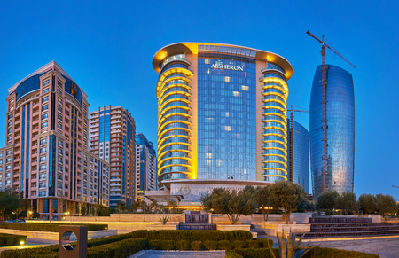 BAKU, AZERBAIJAN - OCTOBER 9, 2017: As one of the richest city in Middle East Baku boasts variety of luxury hotels, on October 9 in Baku