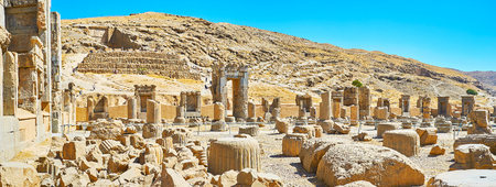 Panorama Persepolis archaeological site with emains of ancient Persian architecture, Iran.