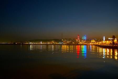 Embankment of Caspian Sea is the main landmark of the city, its the best place to overview beautiful illumination of Baku, Azerbaijan