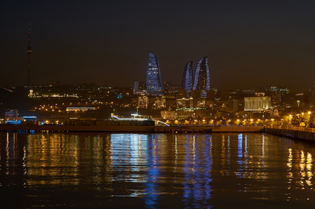Baku boasts beautiful illumination of city, with the best viewed from embankment of Caspian Sea, Azerbaijan