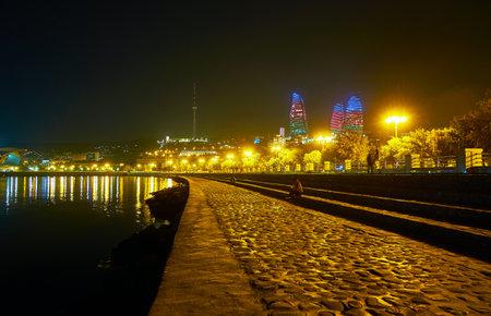 Embankment of Baku predisposes to calm and measured rest enjoying great view on coastline of Caspian Sea, Azerbaijan
