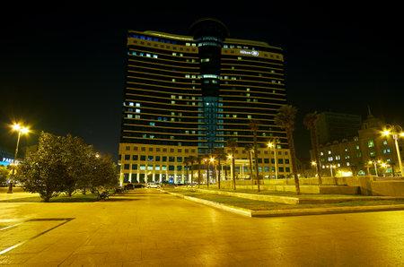 BAKU, AZERBAIJAN - OCTOBER 9, 2017: Hilton hotel in Baku located next the embankment with great view on Caspian Sea, on October 9 in Baku