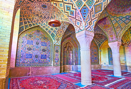 SHIRAZ, IRAN - OCTOBER 12, 2017: The Pink mosque (Nasir Ol-Molk) is the must see landmark in city, it attracts the tourists with outstanding architecture and rich tiled decorations, on October 12 in Shiraz. Editorial