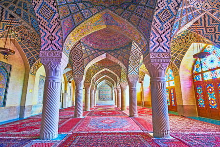 SHIRAZ, IRAN - OCTOBER 12, 2017: The Pink mosque is famous for its winter prayer hall, its perfect decorations attract tourists to visit and enjoy the architecture, on October 12 in Shiraz. Editorial