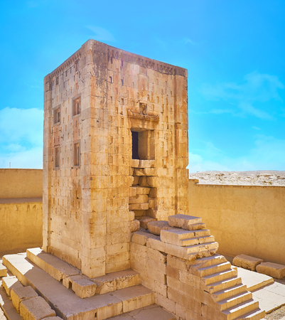 Kaba-ye Zartosht is the ancient tower, located in Naqsh-e Rustam Necropolis, probably it was used as the Zoroastrian Fire Temple, Iran. 写真素材