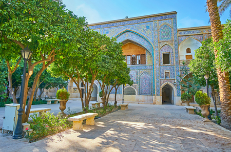 The Madraseh-ye Khan is an example of Safavid Era architecture in Shiraz, its shady garden is the perfect place for rest, Iran.