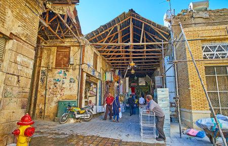 SHIRAZ, IRAN - OCTOBER 12, 2017: The shabby entrance to Mesgarha Bazaar, famous historic destination of the city, on October 12 in Shiraz.
